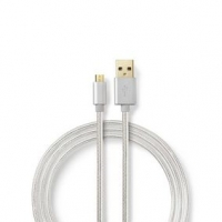 USB kabel | USB 2.0 | USB-A Zástrčka | USB Micro-B Zástrčka | 480 Mbps | Pozlacené | 1.00 m | Kulatý | Nylon / Opletený | Hliník