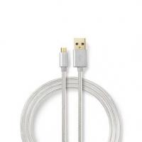 USB kabel | USB 2.0 | USB-A Zástrčka | USB Micro-B Zástrčka | 480 Mbps | Pozlacené | 3.00 m | Kulatý | Nylon / Opletený | Hliník
