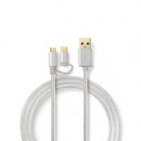 Kabel 2 v 1 | USB 2.0 | USB-A Zástrčka | Typ-C™ / USB Micro B Zástrčka | 480 Mbps | 2.00 m | Pozlacené | Kulatý | Opletený | Hli