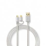 Synchronizační a Nabíjecí Kabel 2 v 1 | USB Micro B Zástrčka + USB Typ-C Zástrčka - A Zástrčka | 1 m | Hliník