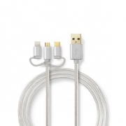 Synchronizační a Nabíjecí Kabel 3 v 1 | USB Micro B Zástrčka + USB Typ-C Zástrčka + Apple Lightning 8-Pin Zástrčka - A Zástrčka