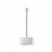 Kabel s Multi Adaptérem USB Typ-C | Typ-C Zástrčka - USB A Zásuvka HDMI™ výstup + USB Typ-C Zásuvka | 0,2 m | Hliník