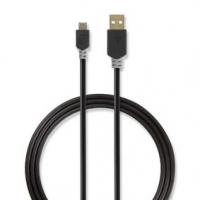 USB kabel | USB 2.0 | USB-A Zástrčka | USB Micro-B Zástrčka | 480 Mbps | Pozlacené | 1.00 m | Kulatý | PVC | Antracitová | Box s