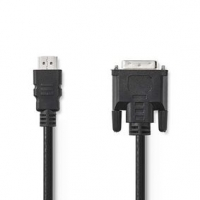 HDMI™ Kabel | Konektor HDMI ™ | DVI-D 24+1 Zástrčka | 1080p | Poniklované | 2.00 m | Přímý | PVC | Černá | Plastový Sáček