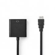HDMI™ – VGA Kabel | Konektor HDMI™ - VGA Zásuvka + 3,5mm výstup | 0,2 m | Černá barva