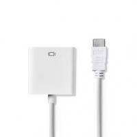 HDMI™ Kabel | Konektor HDMI ™ | VGA Zásuvka | 1080p | Poniklované | 0.20 m | Přímý | PVC | Bílá | Plastový Sáček