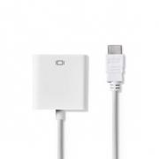 HDMI™ – VGA Kabel | Konektor HDMI™ - VGA Zásuvka + 3,5mm výstup | 0,2 m | Bílá barva