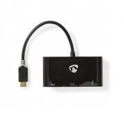 Kabel Adaptéru USB Typ-C | Typ-C Zástrčka - Typ-C Zásuvka + A Zásuvka + VGA Zásuvka | 0,2 m | Antracit