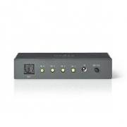 Optický Audio Spínač | 4 porty - 4× TosLink Vstup | 1× TosLink Výstup