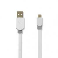 USB kabel | USB 2.0 | USB-A Zástrčka | USB Micro-B Zástrčka | 480 Mbps | Pozlacené | 1.00 m | Plochý | PVC | Bílá | Plastový Sáč