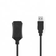 Aktivní Prodlužovací Kabel USB 2.0 | A Zástrčka - A Zásuvka | 5 m | Černá barva