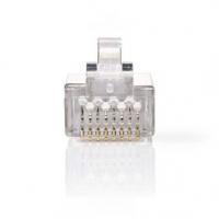 RJ45 konektor | Zástrčka | Lanko STP CAT6 | Přímý | Pozlacené | 10 ks | PVC | Transparentní | Obálka
