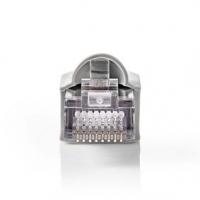 RJ45 konektor | Zástrčka | Drát UTP CAT5 | Přímý | Pozlacené | 10 ks | PVC | Šedá / Transparentní | Obálka