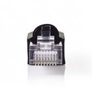 Sada Síťových Konektorů | RJ45 Zástrčka + Ochranný Kryt Konektoru - Pro Pevné Kabely Cat 5 UTP | 10 kusů | Černá barva