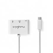 Kabel Adaptéru USB Typ-C | Typ-C Zástrčka - USB A Zásuvka + Typ-C Zásuvka + HDMI výstup | 0,2 m | Bílá barva