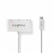Kabel Adaptéru USB Typ-C | Typ-C Zástrčka - USB A Zásuvka + Typ-C Zásuvka + VGA Zásuvka | 0,2 m | Bílá barva
