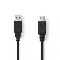 USB kabel | USB 2.0 | USB-A Zástrčka | USB Micro A | 480 Mbps | Poniklované | 2.00 m | Kulatý | PVC | Černá | Plastový Sáček