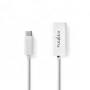 Kabel Adaptéru USB Typ-C | Typ-C Zástrčka - RJ45 Zásuvka | 0,2 m | Bílá barva