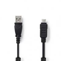 USB kabel | USB 2.0 | USB-A Zástrčka | Olympus 12-Pin Zástrčka | 480 Mbps | Poniklované | 2.00 m | Kulatý | PVC | Černá | Plasto