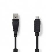 Datový kabel k Fotoaparátu | USB A Zástrčka - Olympus 12-pin Zástrčka | 2 m | Černá barva