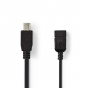 USB 2.0 Kabel na Cesty | Mini 5-pin Zástrčka - A Zásuvka | 0,2 m | Černá barva