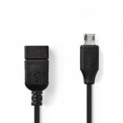 USB 2.0 Kabel na Cesty | Micro B Zástrčka - A Zásuvka | 0,2 m | Černá barva