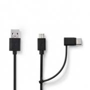 Synchronizační a Nabíjecí Kabel 2 v 1 | USB A Zástrčka - Micro B Zástrčka / Typ-C Zástrčka | 1 m | Černá barva