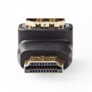 Adaptér HDMI | HDMI Konektor - HDMI Zásuvka | Úhlová 90° | Černá barva