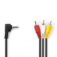 Audio Video Kabel | 3,5 mm Zástrčka | 3x RCA Zástrčka | Poniklované | 2.00 m | Kulatý | PVC | Černá
