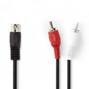 Audiokabel DIN | DIN 5-pin Zástrčka - 2x RCA Zástrčka | 1 m | Černá barva