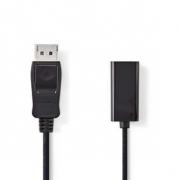 DisplayPort – HDMI Kabel | DisplayPort Zástrčka - HDMI Zásuvka | 0,2 m | Černá barva