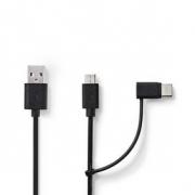Synchronizační a Nabíjecí Kabel 2 v 1 | USB A Zástrčka - USB Micro B / Typ-C Zástrčka | 1 m | Černá barva