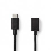 USB 3.0 Kabel | Typ-C Zástrčka - A Zásuvka | 0,15 m | Černá barva