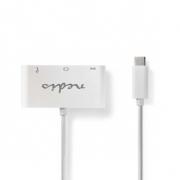 Kabel Adaptéru USB Typ-C | Typ-C Zástrčka - A Zásuvka / Typ-C Zásuvka / VGA Zásuvka | 0,2 m | Bílá barva