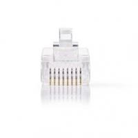 RJ45 konektor | Zástrčka | Drát UTP CAT5 | Přímý | Pozlacené | 10 ks | PVC | Transparentní | Box