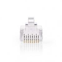 RJ45 konektor | Zástrčka | Drát UTP CAT6 | Přímý | Pozlacené | 10 ks | PVC | Transparentní | Box