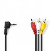 AV Kabel 3,5 mm | 3,5mm AV Zástrčka - 3x RCA Zástrčka | 2 m | Černá barva