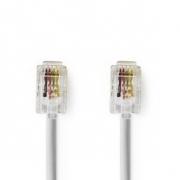 Telekomunikační kabel | RJ10 Zástrčka – RJ10 Zástrčka | 2 m | Bílá barva