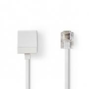 Telefonní Prodlužovací kabel | RJ11 Zástrčka – RJ11 Zásuvka | 5 m | Bílá barva
