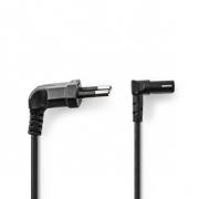 Napájecí Kabel | Euro Úhlová Zástrčka – IEC-320-C7 Úhlová Nahoru/Dolů | 2 m | Černá barva