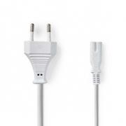 Napájecí Kabel | Euro Zástrčka – IEC-320-C7 | 5 m | Bílá barva