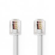 Telekomunikační kabel | RJ11 Zástrčka – RJ11 Zástrčka | 2 m | Bílá barva