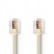 Telekomunikační kabel | RJ11 Zástrčka – RJ11 Zástrčka | 5 m | Slonovinová