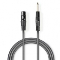 Nevyvážený XLR Audiokabel | XLR 3pinová Zásuvka - 6,35mm Zástrčka | 1,5 m | Šedá barva
