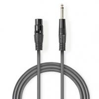 Nevyvážený XLR Audiokabel | XLR 3pinová Zásuvka - 6,35mm Zástrčka | 10 m | Šedá barva