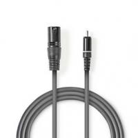 XLR Audiokabel | XLR 3pinová Zástrčka - RCA Zástrčka | 1,5 m | Šedá barva