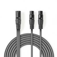 Vyvážený Audio kabel | XLR 3pinový Zástrčka | 2x XLR 3pinová Zásuvka | Poniklované | 1.50 m | Kulatý | PVC | Tmavě Šedá | Karton