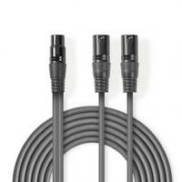 Vyvážený Audio kabel | 2x XLR 3pinový Zástrčka | XLR 3pinová Zásuvka | Poniklované | 1.50 m | Kulatý | PVC | Tmavě Šedá | Karton