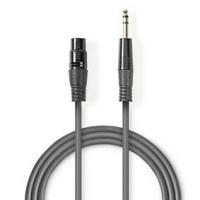 Vyvážený Audio kabel | XLR 3pinová Zásuvka | Muž 6,35 mm | Poniklované | 1.50 m | Kulatý | PVC | Tmavě Šedá | Karton