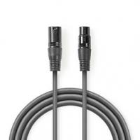 Vyvážený Audio kabel | XLR 3pinový Zástrčka | XLR 3pinová Zásuvka | Poniklované | 1.50 m | Kulatý | PVC | Tmavě Šedá | Karton
